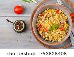 porridge from turkish couscous... | Shutterstock . vector #793828408