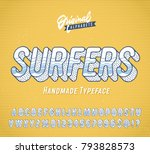 """surfers"" vintage 3d summer... | Shutterstock .eps vector #793828573"