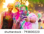 guys with a girl celebrate holi ... | Shutterstock . vector #793830223