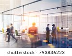 panoramic office corner with a...   Shutterstock . vector #793836223