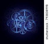 steel gears on a black... | Shutterstock .eps vector #793838998
