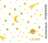 galaxy seamless pattern.... | Shutterstock . vector #793839490
