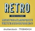 vintage retro 3d sans serif... | Shutterstock .eps vector #793840414