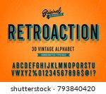 'retroaction' vintage 3d sans... | Shutterstock .eps vector #793840420