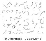 set of hand drawn arrows ... | Shutterstock .eps vector #793842946
