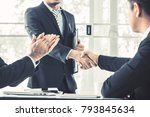 business people shaking hand to ... | Shutterstock . vector #793845634