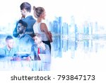 businessman and woman on... | Shutterstock . vector #793847173