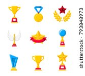 gold cups  trophy  awards and... | Shutterstock .eps vector #793848973