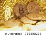 golden bitcoin coin on gold... | Shutterstock . vector #793850233