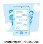 love in messenger. young happy... | Shutterstock .eps vector #793853908