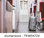 luggage in train interior train ... | Shutterstock . vector #793854724