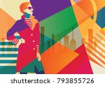 fashion girl in style pop art... | Shutterstock .eps vector #793855726