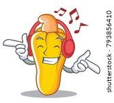 listening music cashew mascot... | Shutterstock .eps vector #793856410