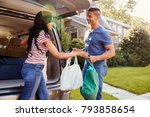 couple unloading shopping bags... | Shutterstock . vector #793858654