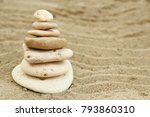 a seashells on sand background | Shutterstock . vector #793860310