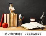 educational background. wooden... | Shutterstock . vector #793862893