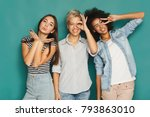 happy female friends having fun ... | Shutterstock . vector #793863010