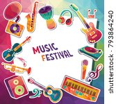 colorful music background....   Shutterstock .eps vector #793864240