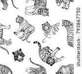 seamless pattern of hand drawn... | Shutterstock .eps vector #793867750