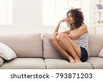 young lonely african american... | Shutterstock . vector #793871203