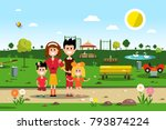 happy family in park. spring... | Shutterstock .eps vector #793874224