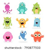 cute cartoon monsters... | Shutterstock .eps vector #793877533