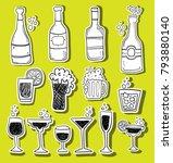 alcohol doodle stickers set   Shutterstock .eps vector #793880140