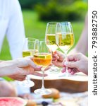 summer picnic with white wine....   Shutterstock . vector #793882750