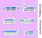 time to travel isolated labels... | Shutterstock .eps vector #793884133