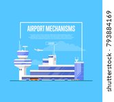 airport mechanisms poster with... | Shutterstock .eps vector #793884169