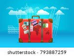 travel bag with stickers and... | Shutterstock .eps vector #793887259