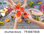 four young people making toast... | Shutterstock . vector #793887808