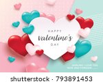 Stock vector happy valentines day romance greeting card with d hearts 793891453