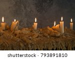 burning candles on melted wax... | Shutterstock . vector #793891810