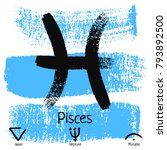 pisces. zodiac sign pictogram.... | Shutterstock .eps vector #793892500