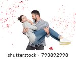 boyfriend carrying girlfriend... | Shutterstock . vector #793892998