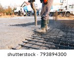 concrete pouring during... | Shutterstock . vector #793894300