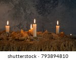 burning candles on melted wax... | Shutterstock . vector #793894810