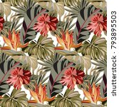seamless pattern with tropical... | Shutterstock .eps vector #793895503