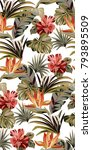 seamless white pattern with... | Shutterstock .eps vector #793895509