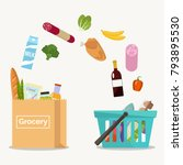 groceries falling from a... | Shutterstock .eps vector #793895530