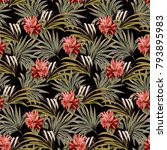 seamless pattern with tropical... | Shutterstock .eps vector #793895983