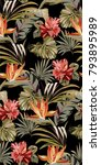 seamless pattern with tropical... | Shutterstock .eps vector #793895989