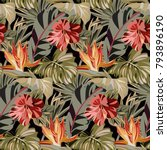 seamless black pattern with... | Shutterstock .eps vector #793896190
