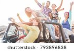 group of happy friends making... | Shutterstock . vector #793896838