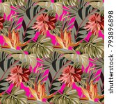 seamless pink pattern with... | Shutterstock .eps vector #793896898
