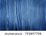 aged blue wood slats wall... | Shutterstock . vector #793897798