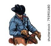 cowboy riding horse vector... | Shutterstock .eps vector #793901680