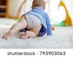 little cute baby girl learning... | Shutterstock . vector #793903063