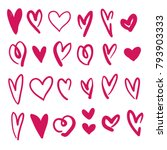 hand drawn hearts collection red | Shutterstock .eps vector #793903333